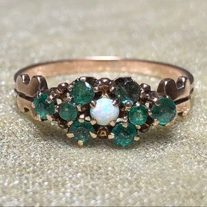 Antique 10k Yellow Gold Genuine Emerald Opal Ring